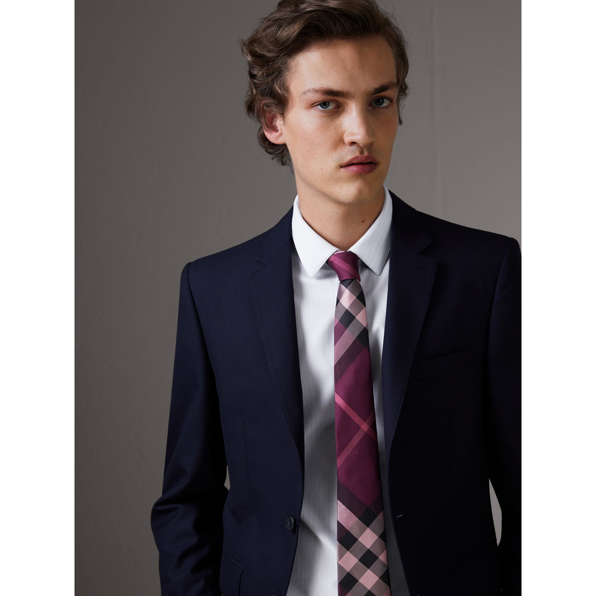 Modern Cut Check Silk Tie in Rose Pink - Men | Burberry - gallery image 3