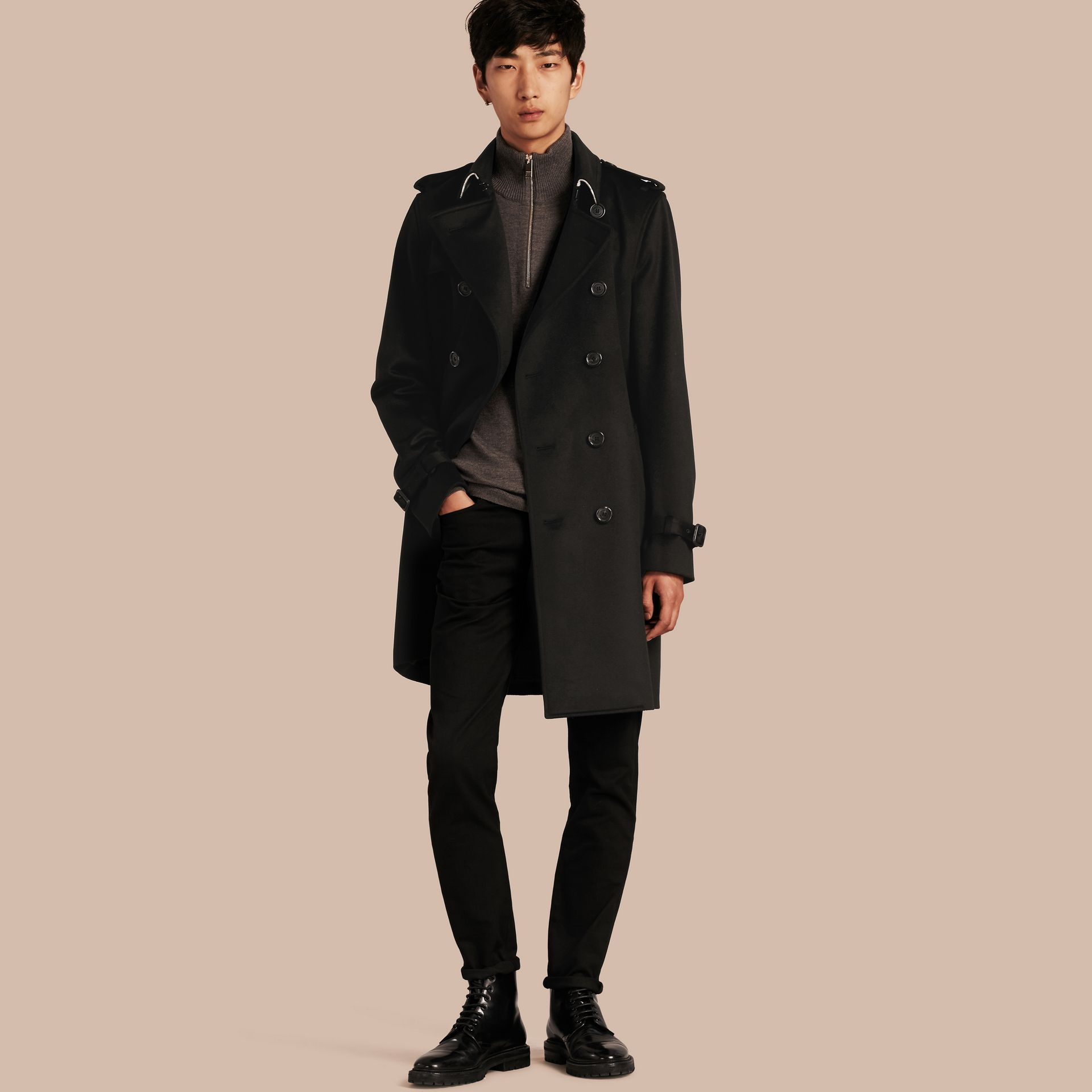 Black Cashmere Trench Coat Black - gallery image 8