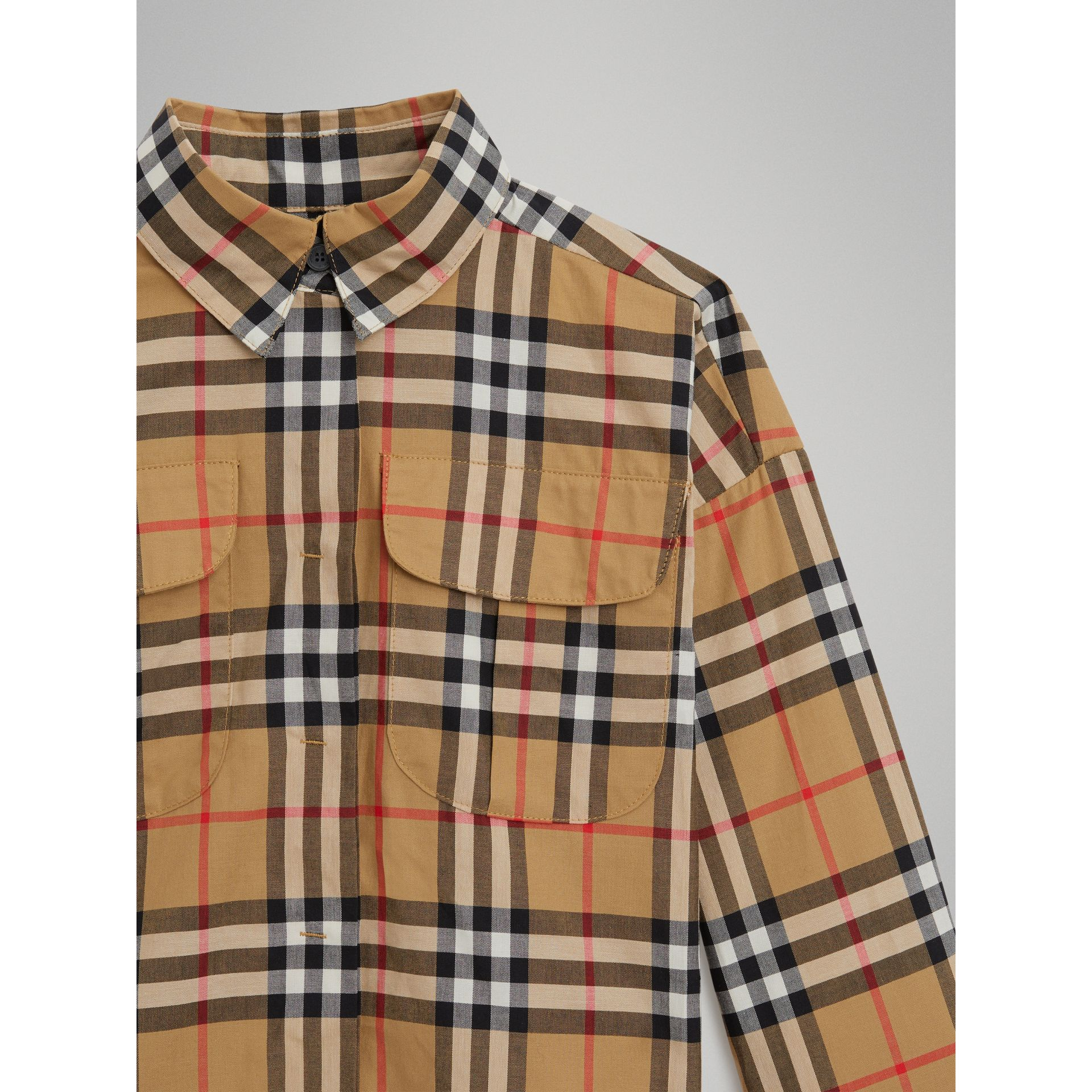Vintage Check Cotton Shirt in Antique Yellow - Girl | Burberry - gallery image 4