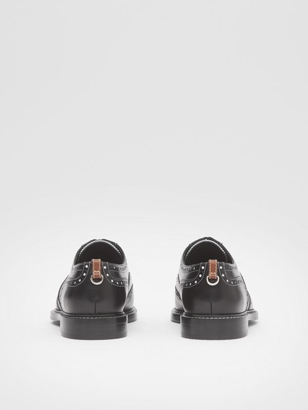 D-ring Detail Two-tone Leather Oxford Brogues in Black/white - Men | Burberry United Kingdom - cell image 3