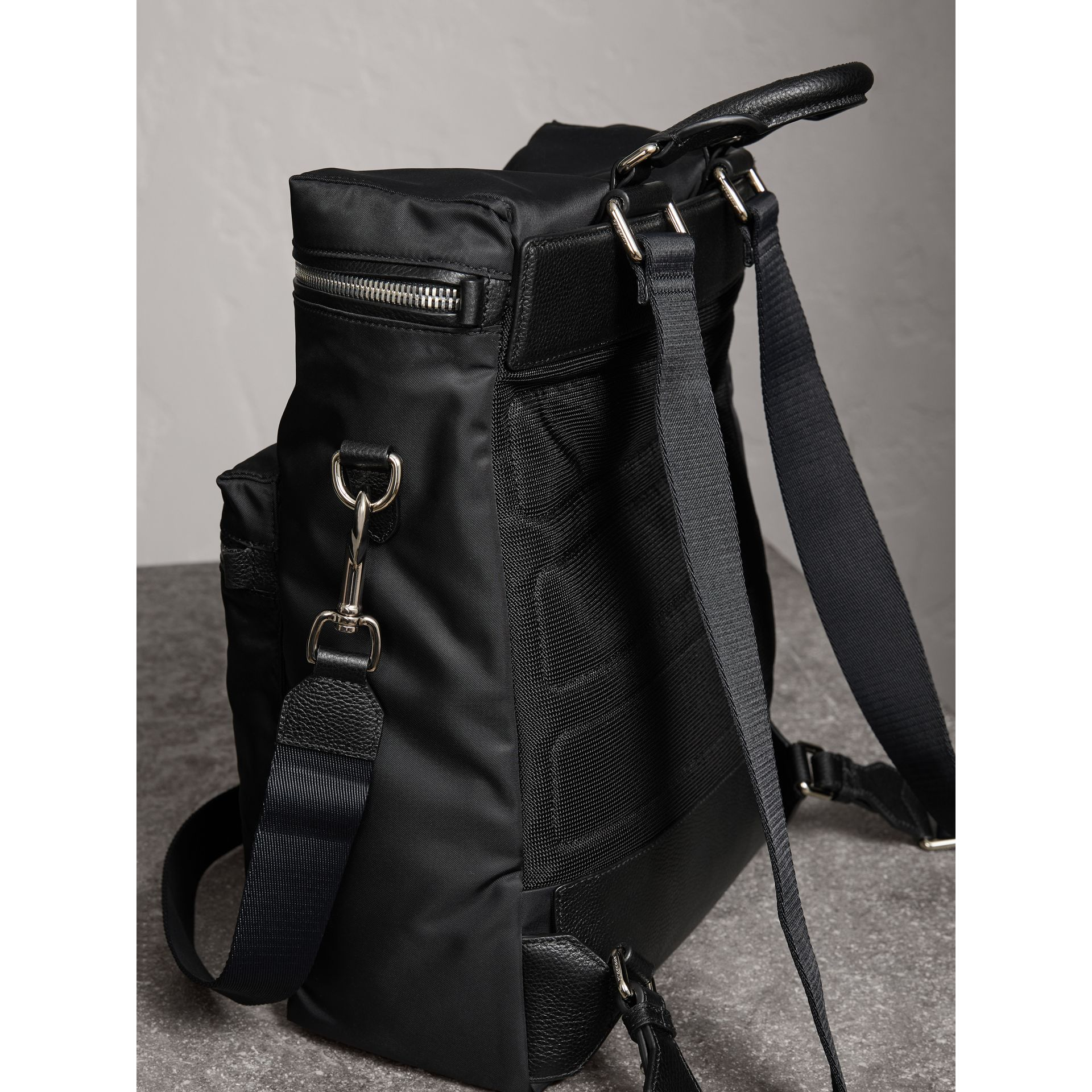 Zip-top Leather Trim Showerproof Backpack in Black - Men | Burberry Australia - gallery image 4