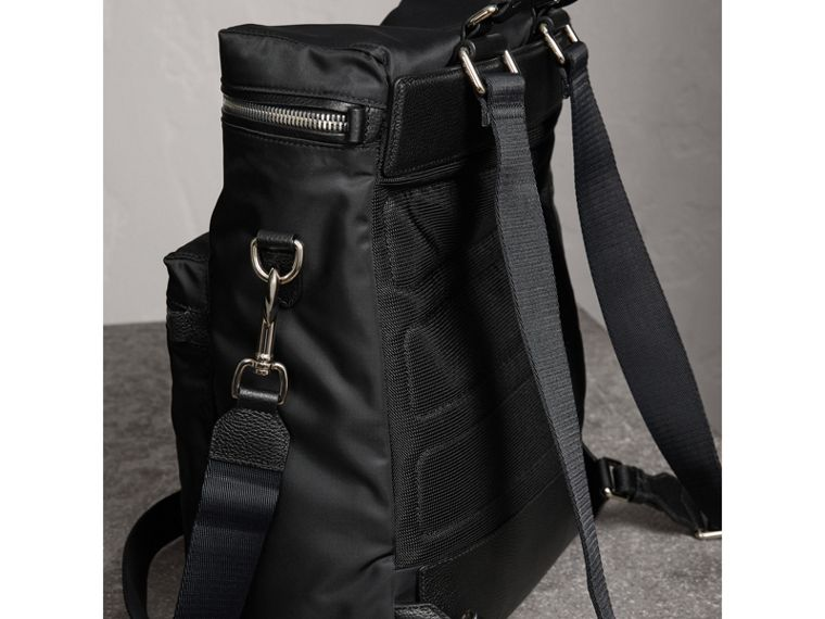 Zip-top Leather Trim Showerproof Backpack in Black - Men | Burberry - cell image 4