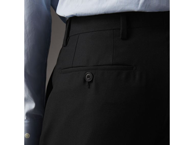 Modern Fit Wool Trousers in Black - Men | Burberry - cell image 1