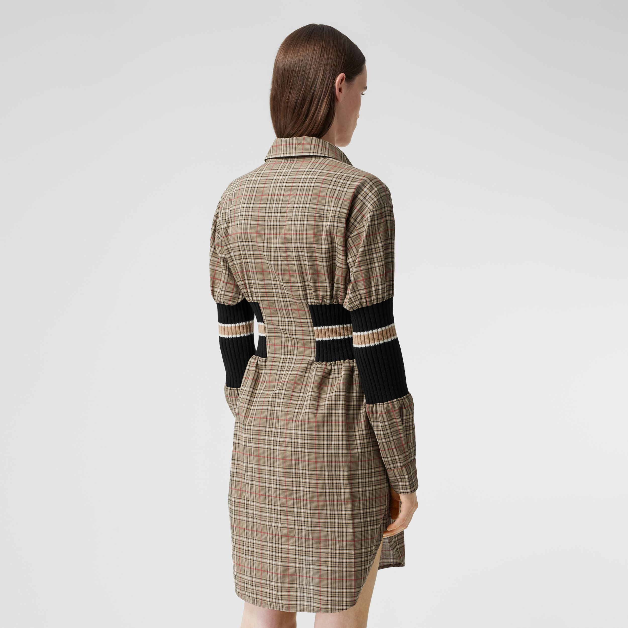 Rib Knit Panel Check Cotton Poplin Shirt Dress in Soft Fawn - Women | Burberry - 3