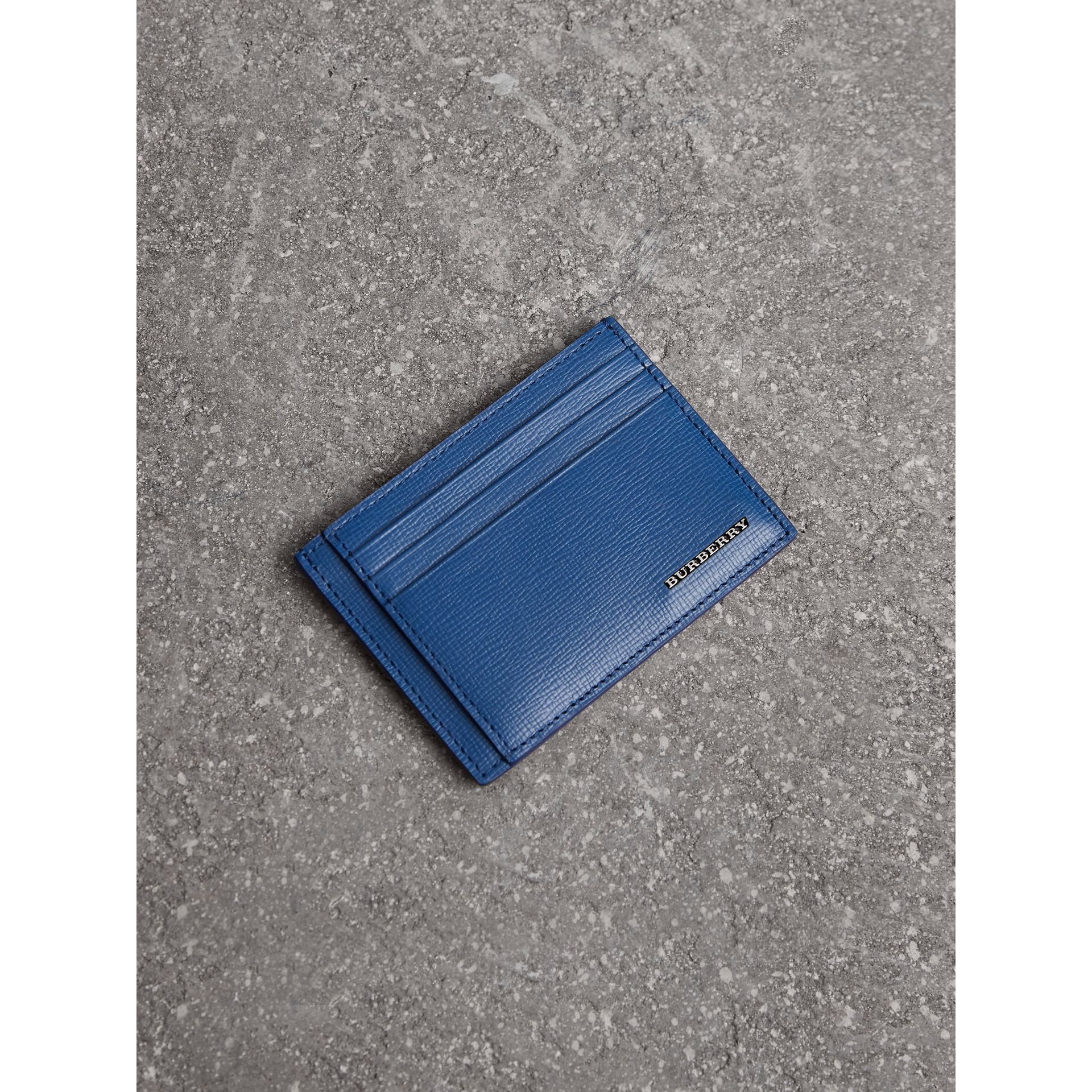 London Leather Money Clip Card Case in Deep Blue - Men | Burberry - gallery image 0