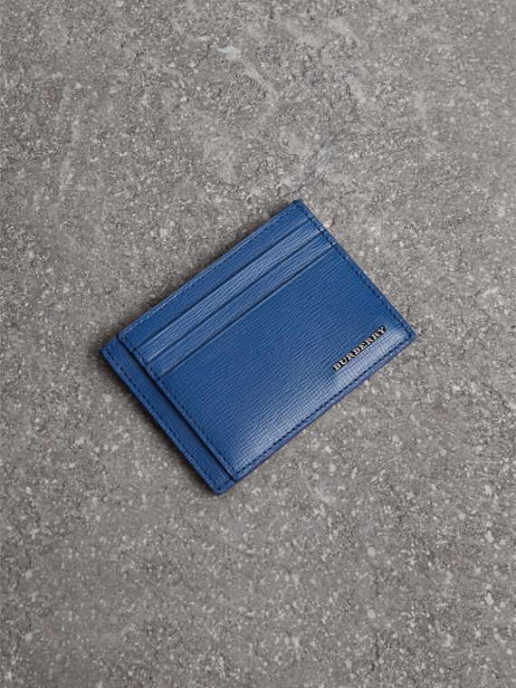 London Leather Money Clip Card Case in Deep Blue