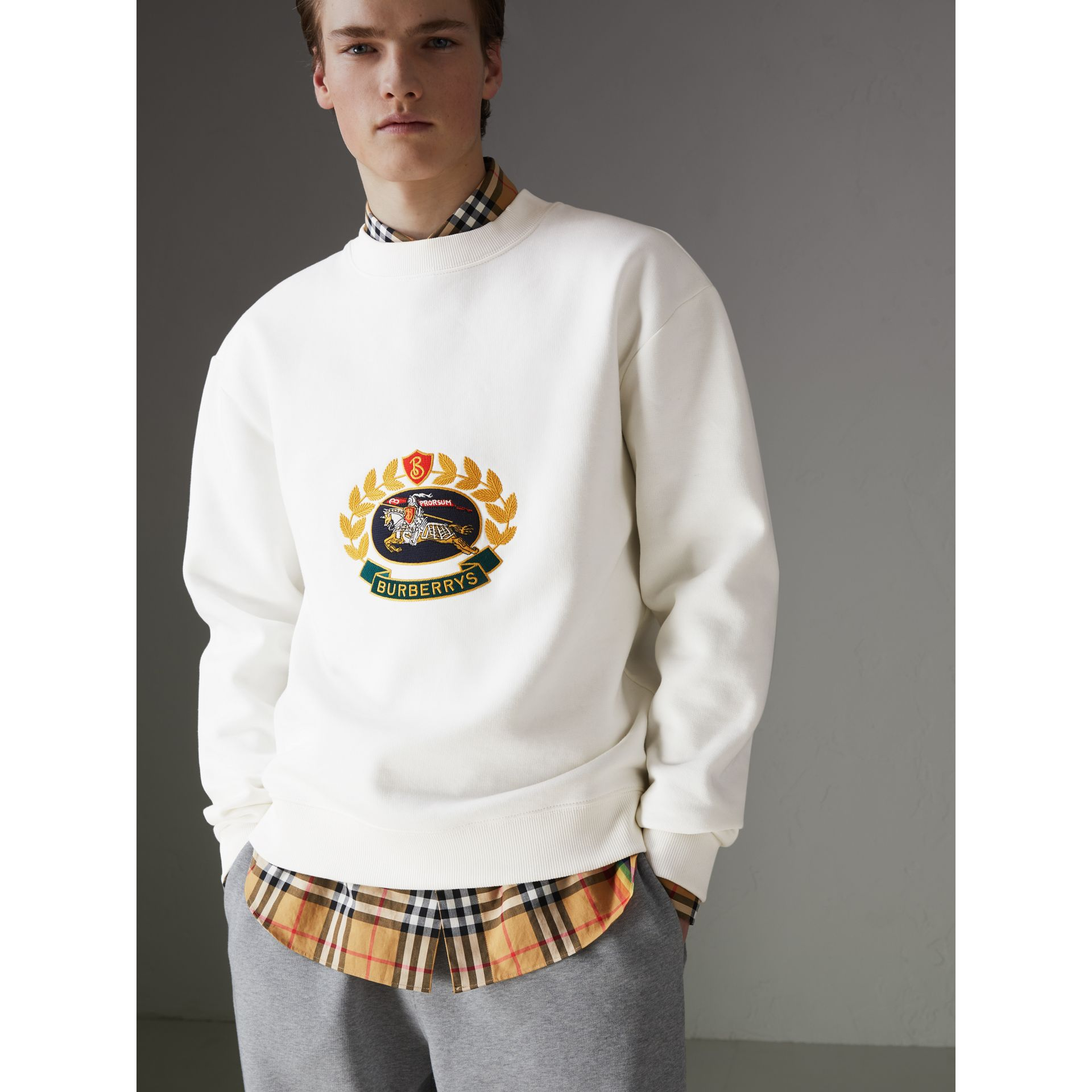 Reissued Jersey Sweatshirt in Off White - Men | Burberry - gallery image 4
