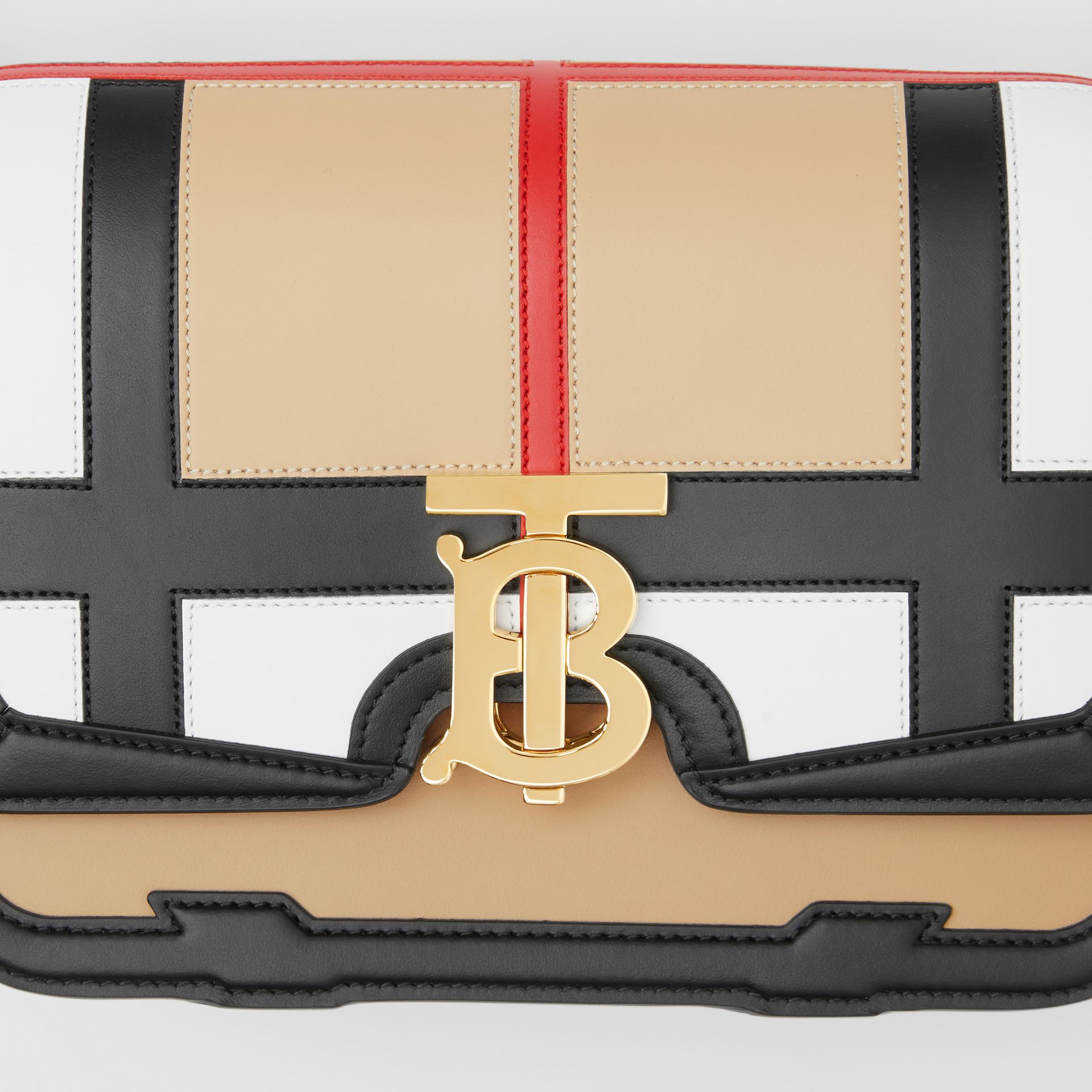 Small Check Appliqué Leather TB Bag in Black - Women | Burberry - gallery image 1
