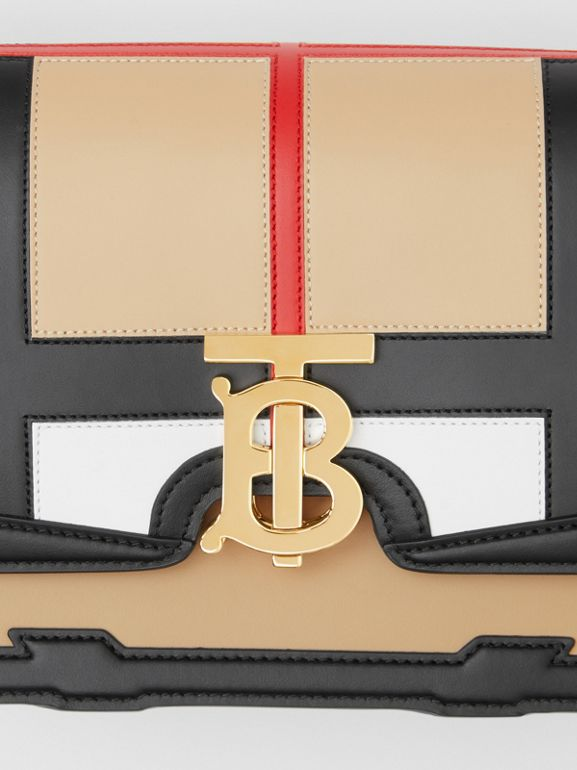Small Check Appliqué Leather TB Bag in Black - Women | Burberry - cell image 1