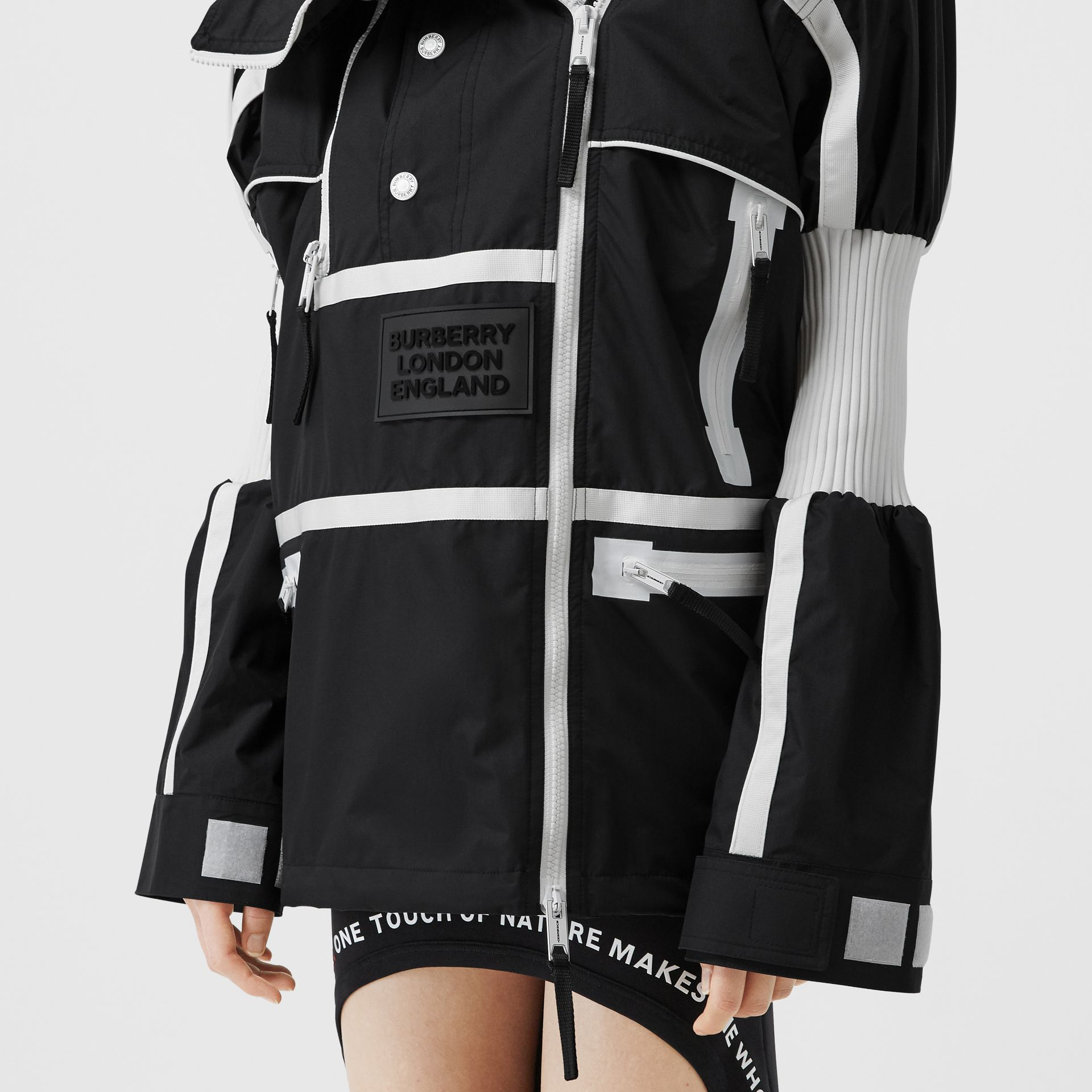 Two-tone Nylon Reconstructed Track Jacket in Black - Women | Burberry - gallery image 4