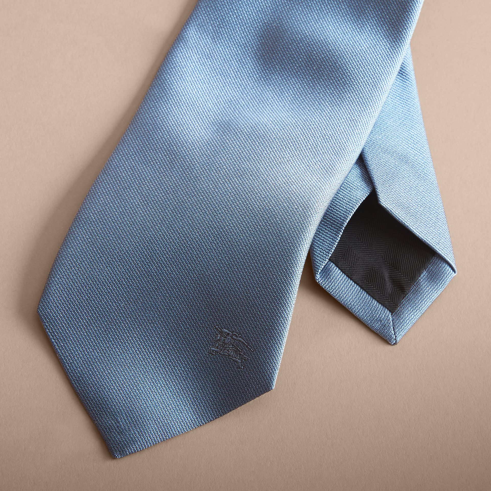 Modern Cut Silk Twill Tie in Sky Blue - Men | Burberry - gallery image 2