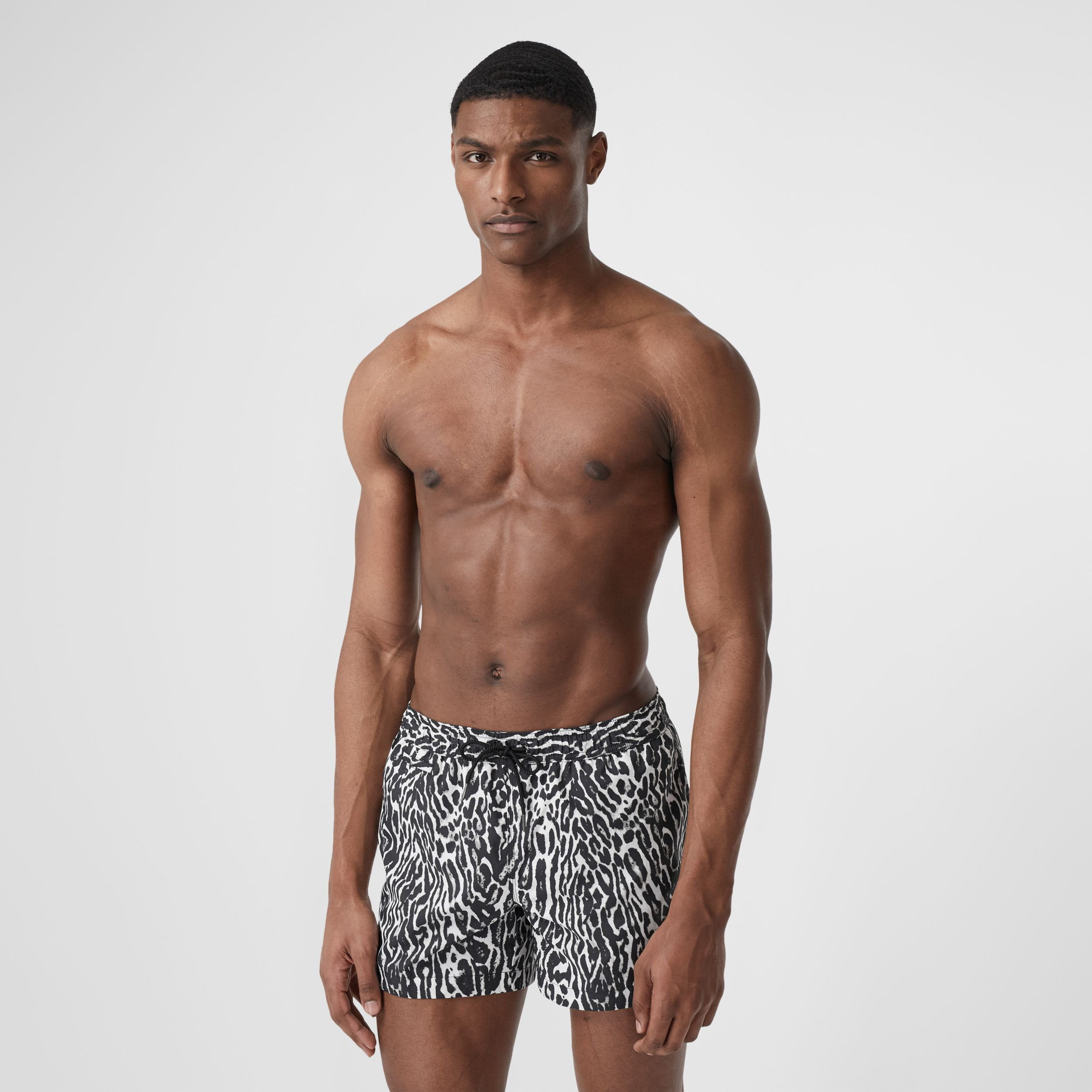 Leopard Print Drawcord Swim Shorts in Black - Men | Burberry - 1