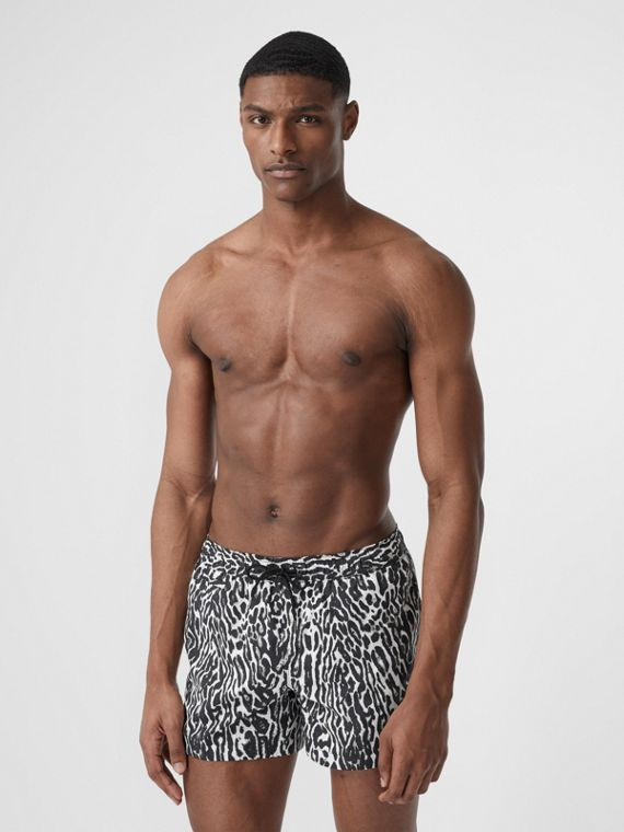 Leopard Print Drawcord Swim Shorts in Black