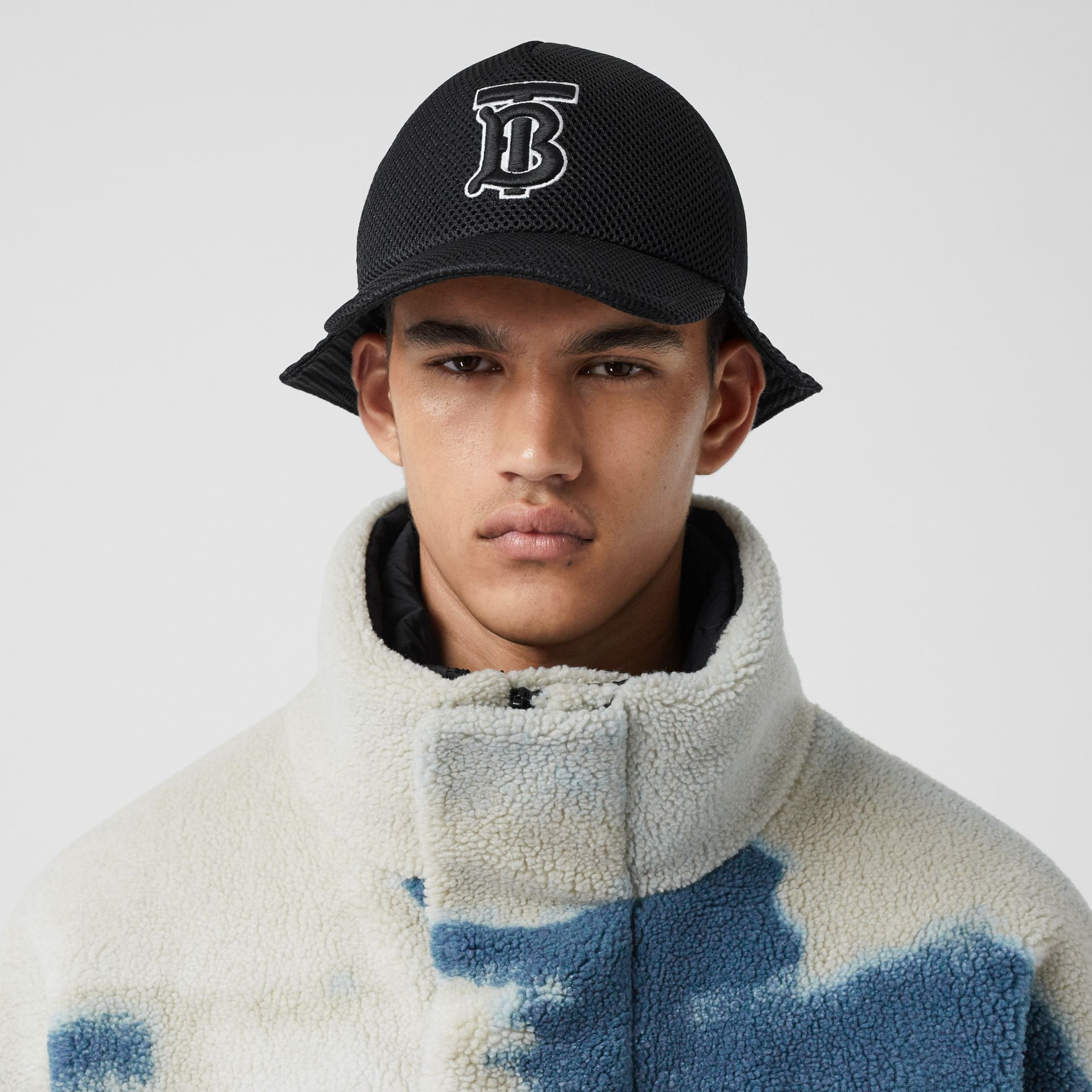 Sea Print Fleece Jacket with Detachable Warmer in Deep Teal - Men | Burberry - gallery image 4