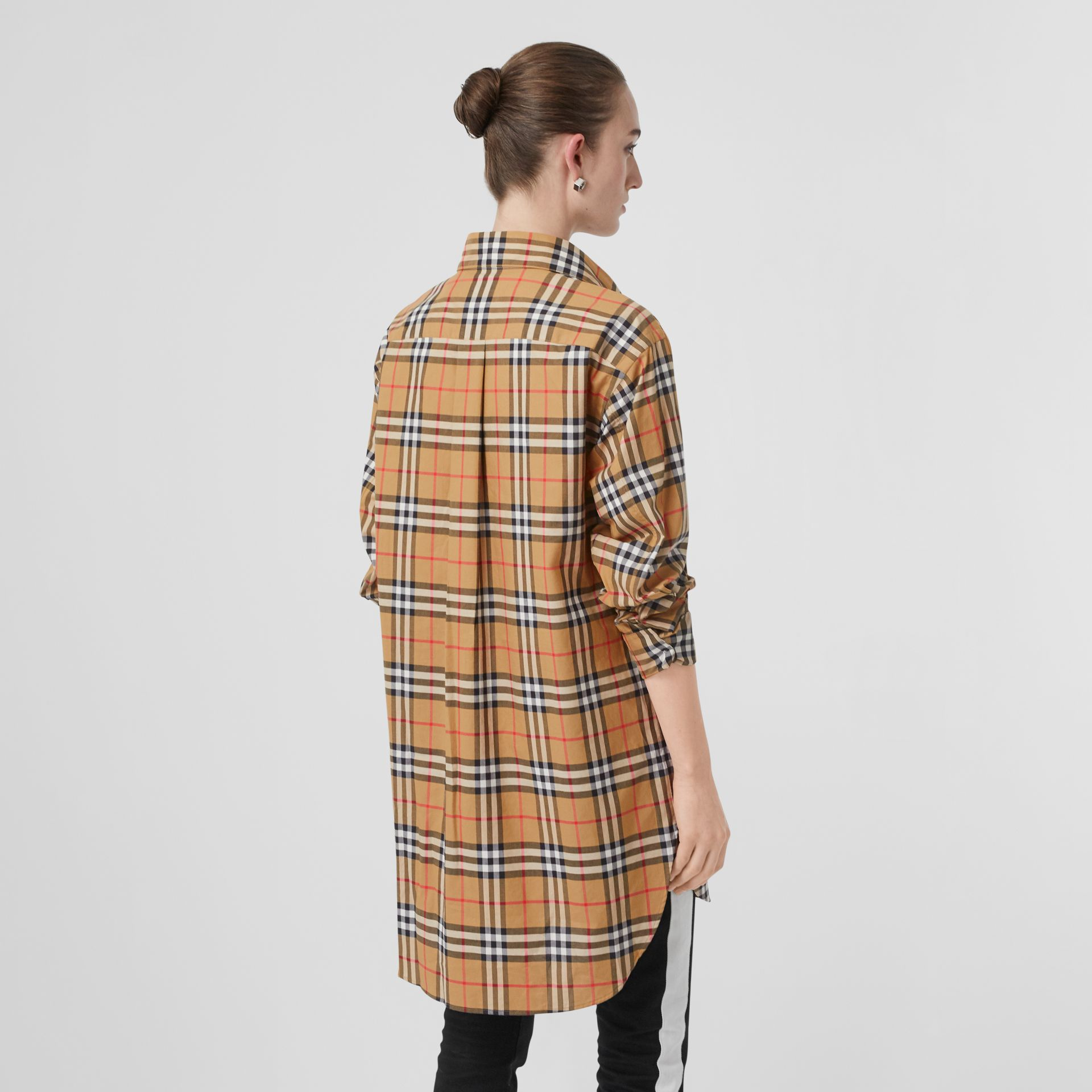 Vintage Check Cotton Oversized Shirt in Antique Yellow - Women | Burberry Singapore - gallery image 2