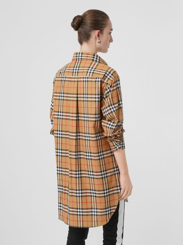 Vintage Check Cotton Oversized Shirt in Antique Yellow - Women | Burberry Singapore - cell image 2