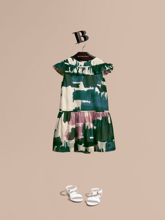 Painterly Print Ruffle Trim Cotton Dress