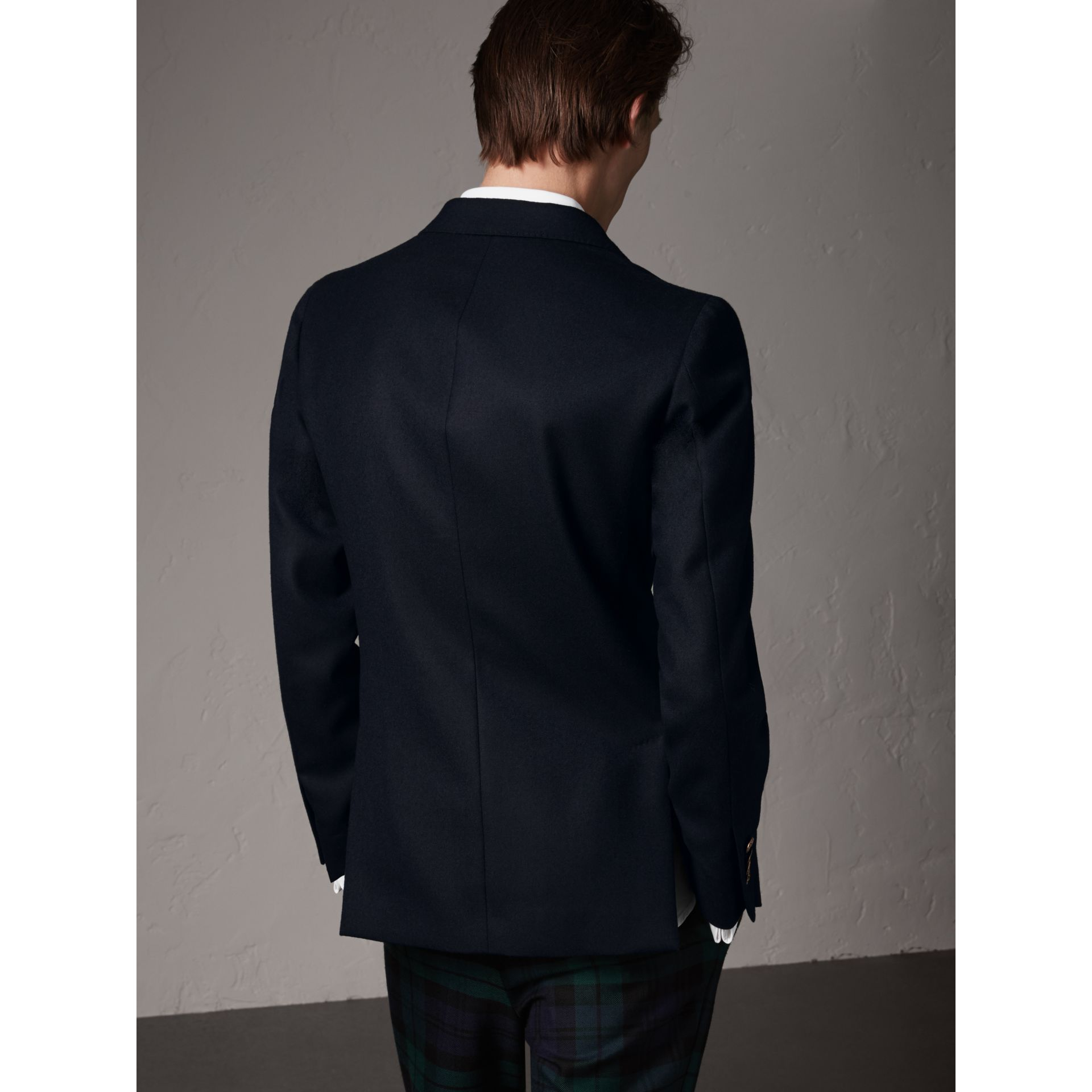 Slim Fit Wool Tailored Jacket with Bird Buttons in Navy - Men | Burberry - gallery image 3
