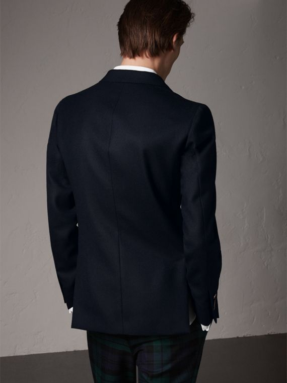 Slim Fit Wool Tailored Jacket with Bird Buttons in Navy - Men | Burberry Singapore - cell image 2