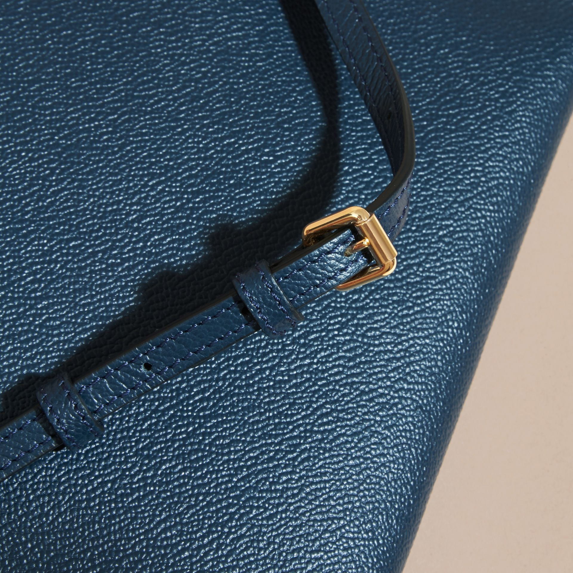 Leather Clutch Bag with Check Lining in Blue Carbon - Women | Burberry - gallery image 7