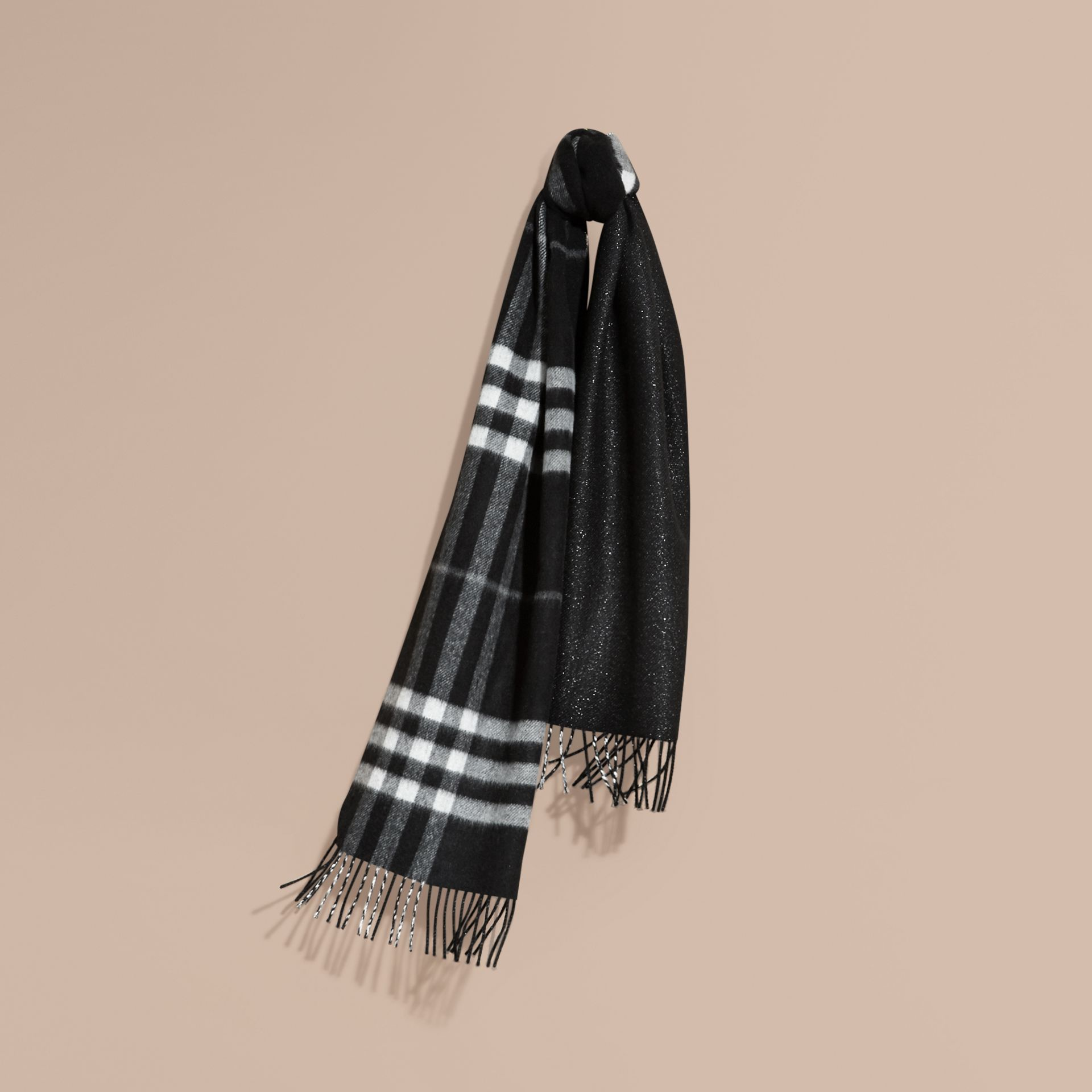 Reversible Metallic Check Cashmere Scarf Black - gallery image 6