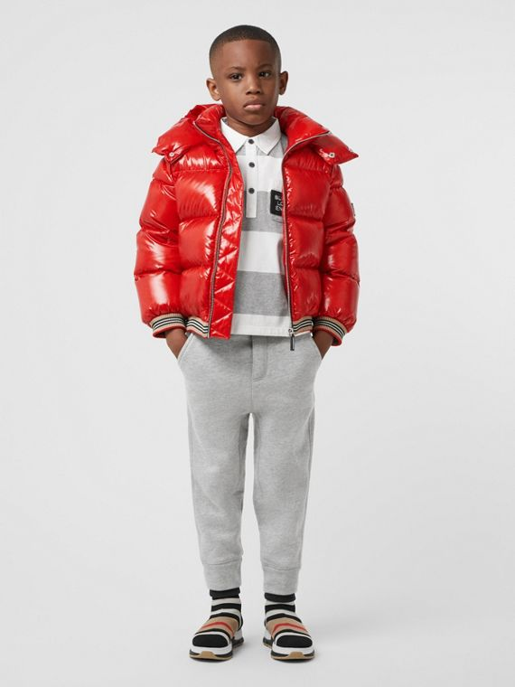 Icon Stripe Detail Down-filled Hooded Puffer Jacket in Bright Red