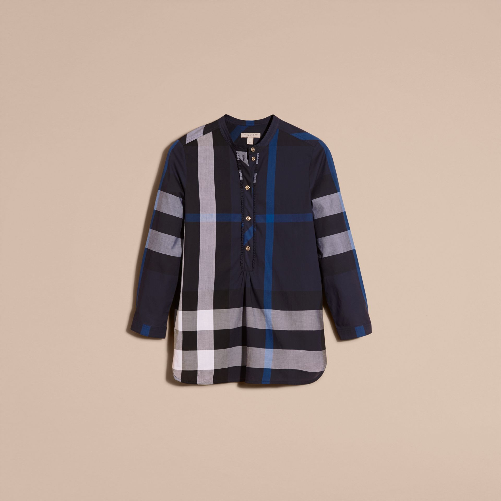 Navy check Check Cotton Tunic Shirt Navy - gallery image 4