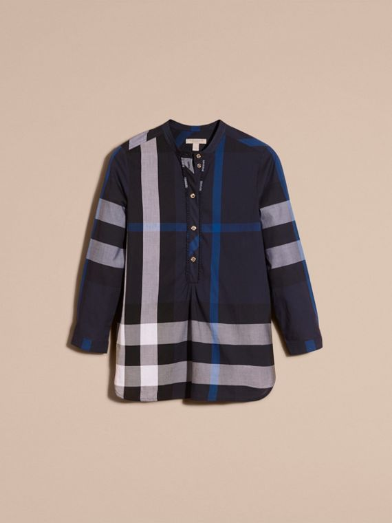 Navy check Check Cotton Tunic Shirt Navy - cell image 3