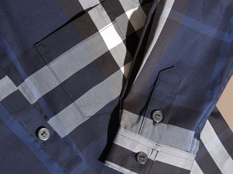 Blu indaco Camicia button-down in cotone con motivo check Blu Indaco - cell image 1