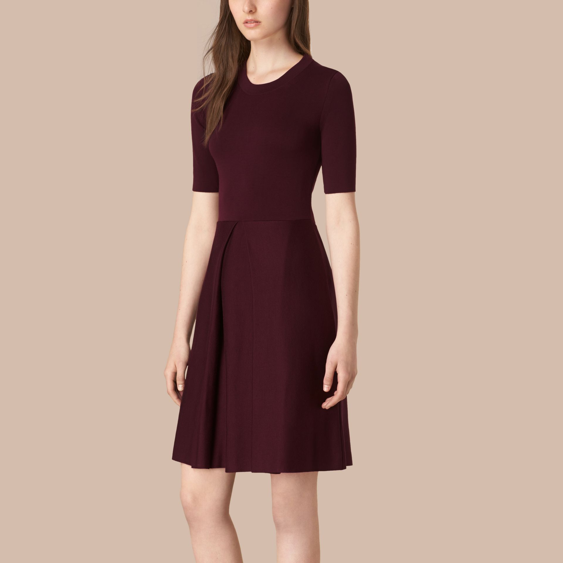 Deep burgundy Knitted Silk Wool Dress Deep Burgundy - gallery image 1