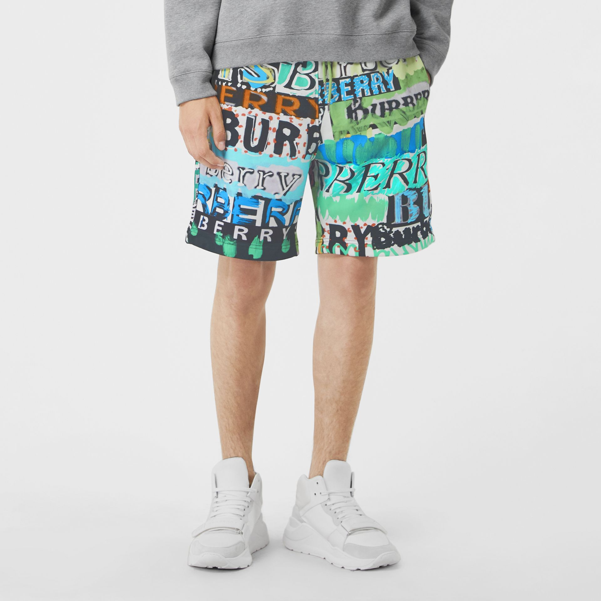 Tag Print Cotton Shorts in Bright Green - Men | Burberry United States - gallery image 4