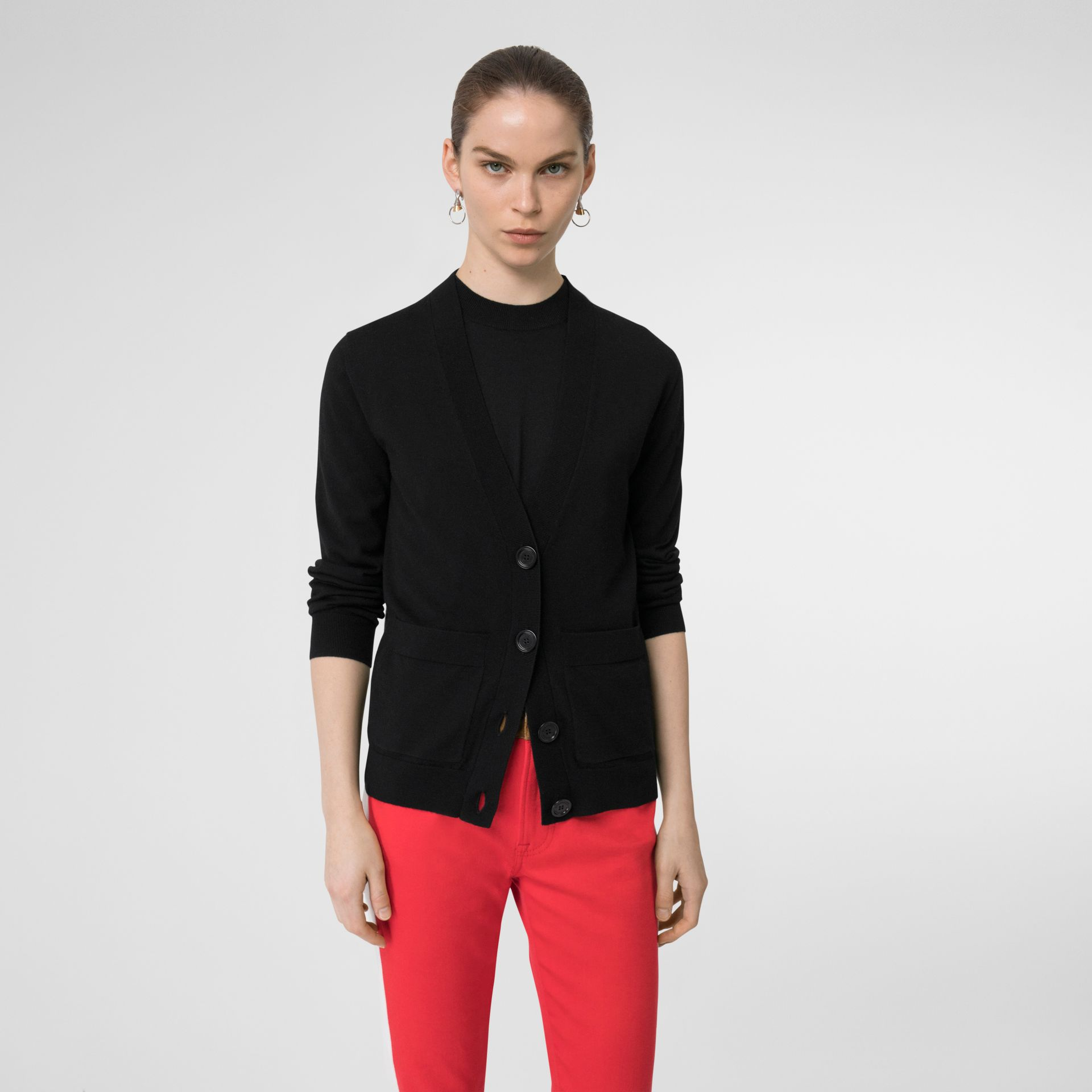 Logo Intarsia Merino Wool Cardigan in Black - Women | Burberry Singapore - gallery image 2