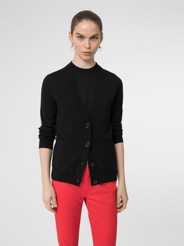 Logo Intarsia Merino Wool Cardigan in Black - Women | Burberry United Kingdom - cell image 2