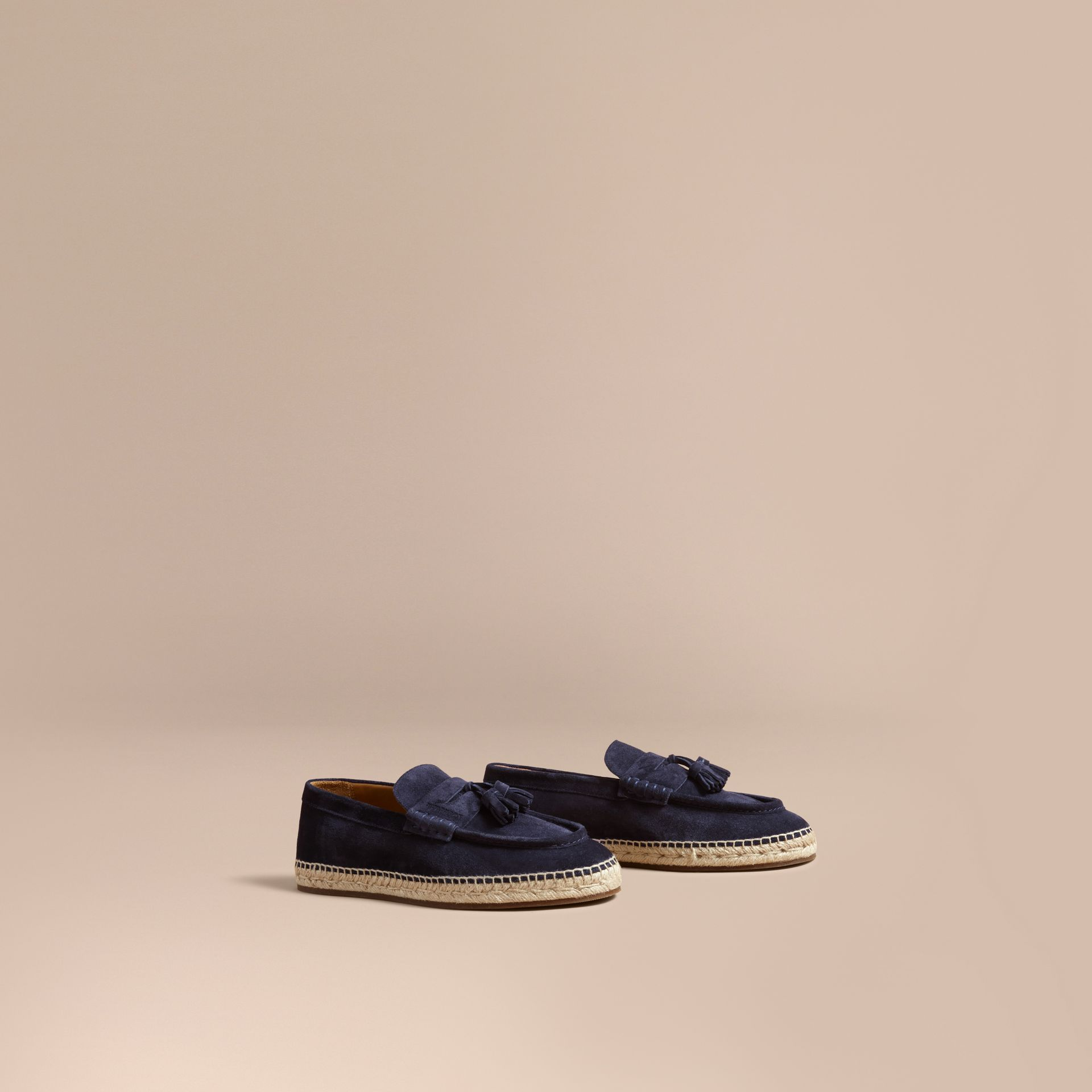Tasselled Suede Espadrille Loafers Midnight Blue - gallery image 1