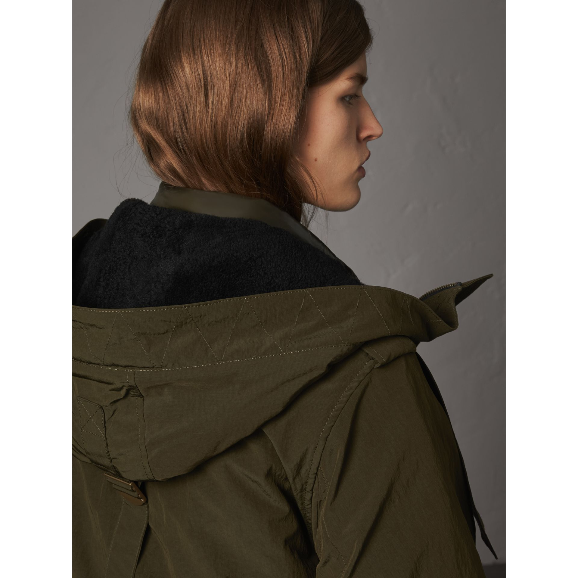 Raccoon Fur and Shearling Trim Parka with Warmer in Dark Olive - Women | Burberry - gallery image 6