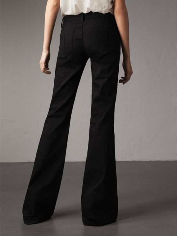 Flared Stretch Jeans in Black - Women | Burberry - cell image 2