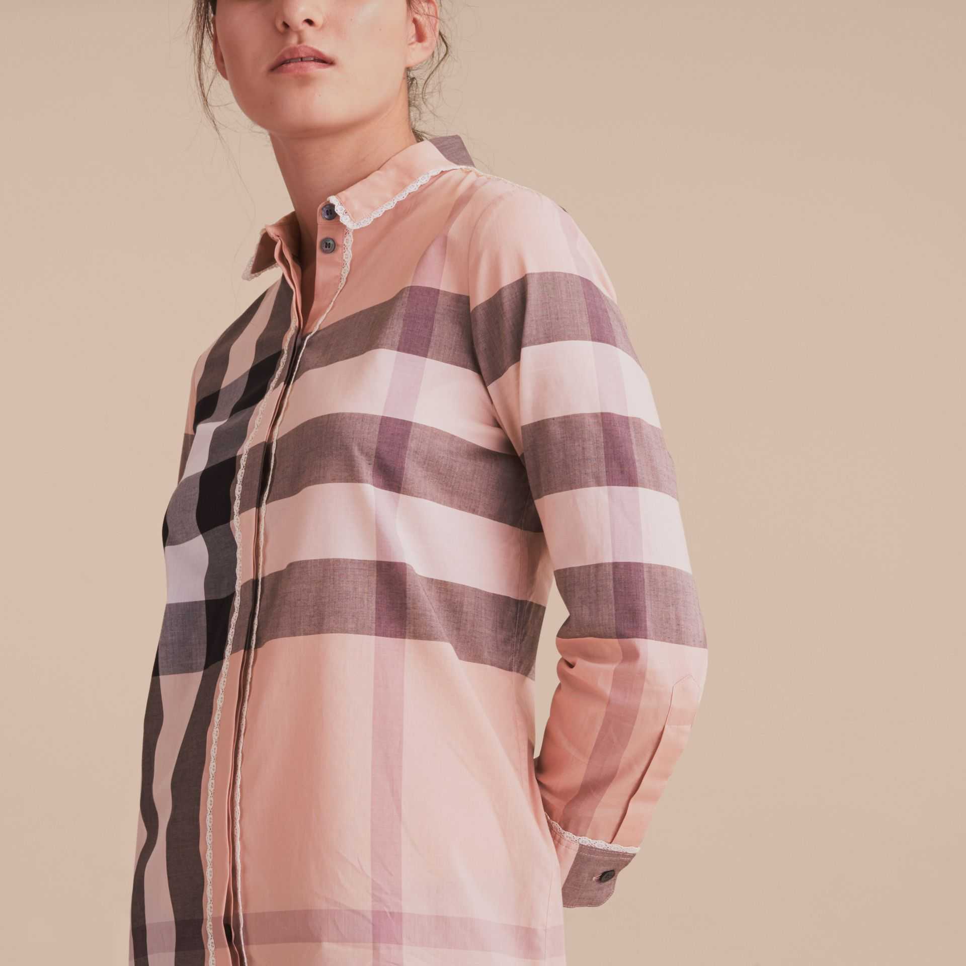 Lace Trim Check Cotton Shirt Antique Pink - gallery image 5