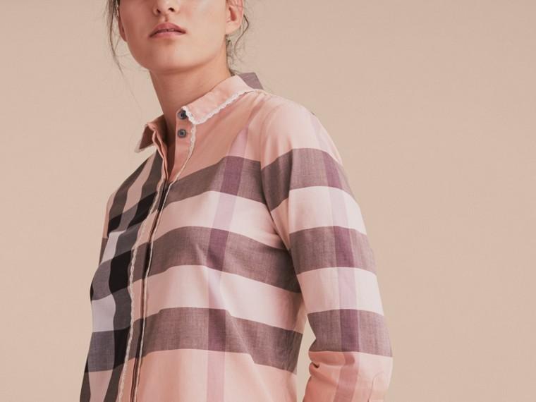 Lace Trim Check Cotton Shirt Antique Pink - cell image 4