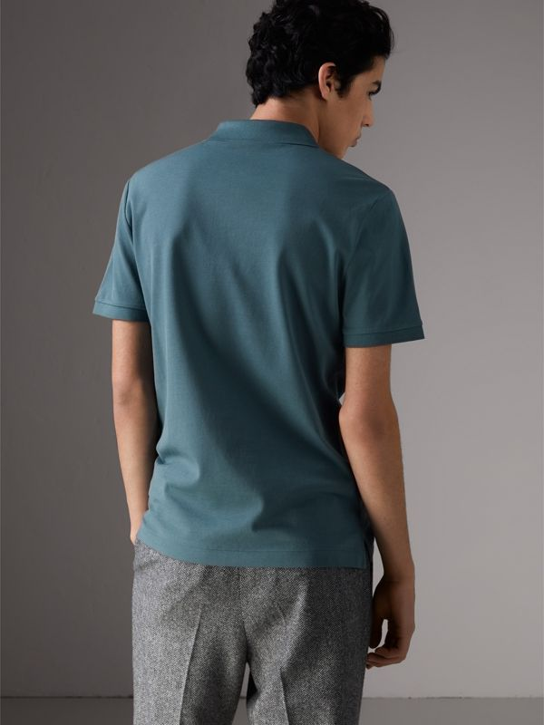 Cotton Piqué Polo Shirt in Pewter Blue - Men | Burberry - cell image 2