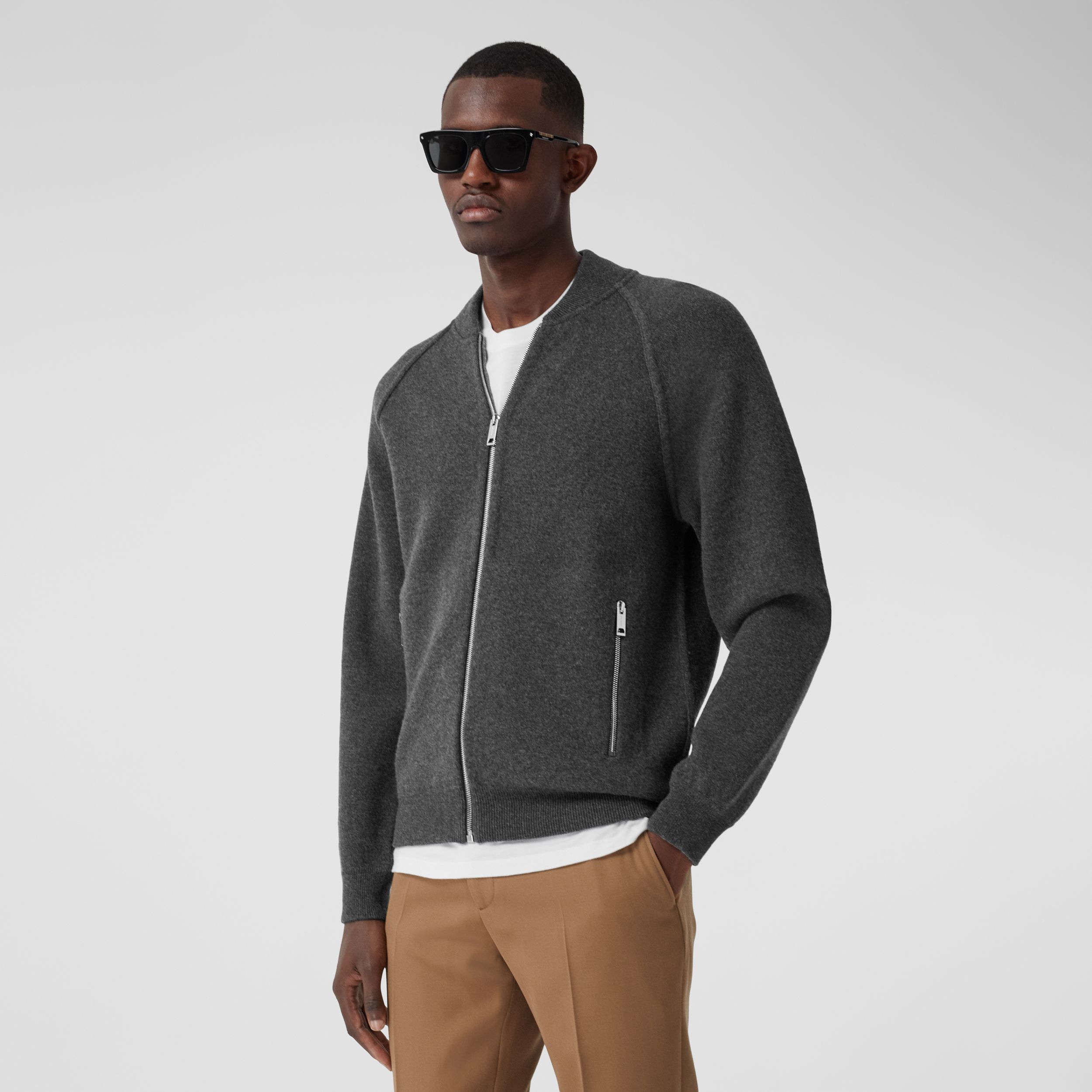 Double-faced Wool Cashmere Blend Bomber Jacket in Mid Grey Melange - Men | Burberry - 1