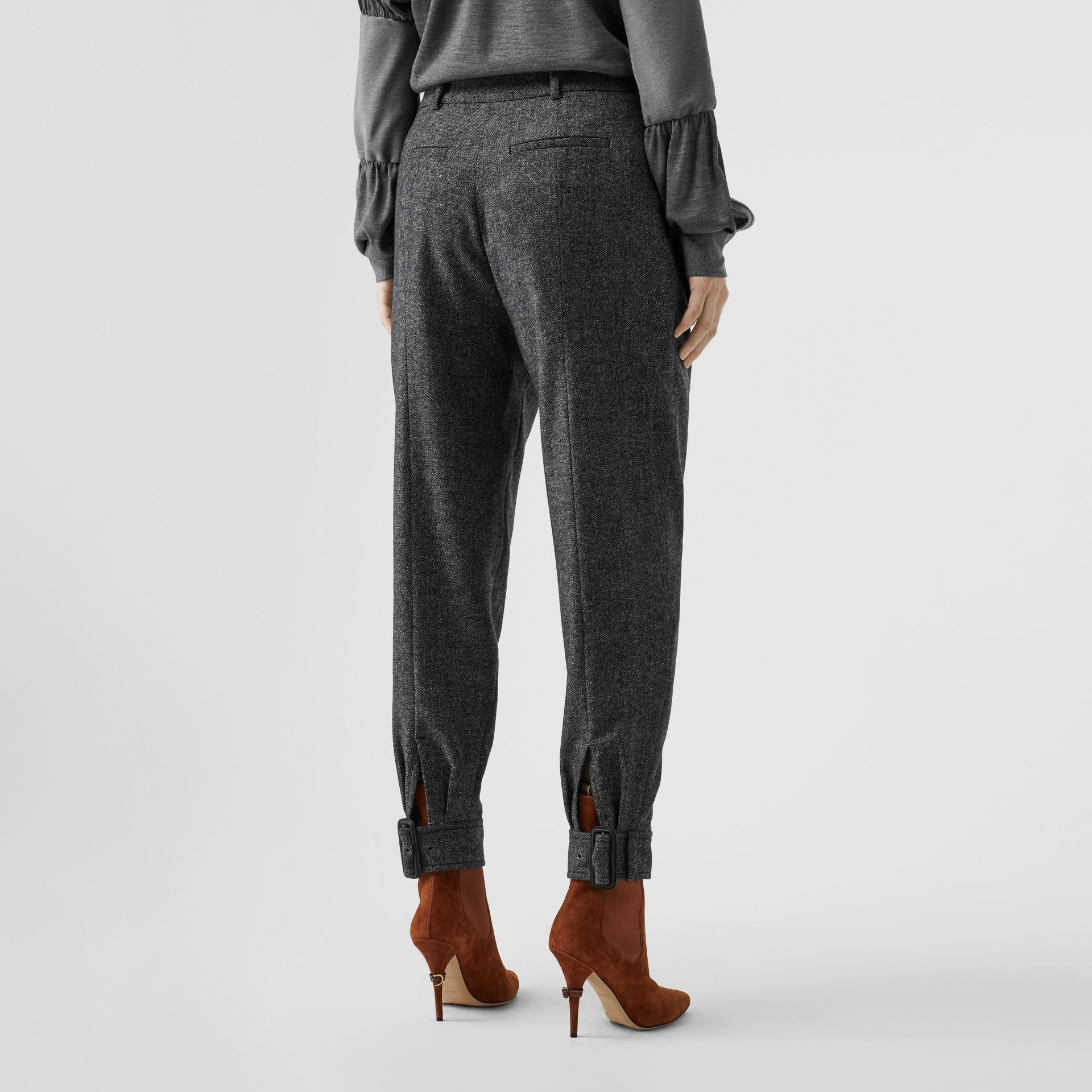 Belt Detail Wool Cashmere Tweed Tailored Trousers in Black Melange - Women | Burberry United Kingdom - gallery image 2