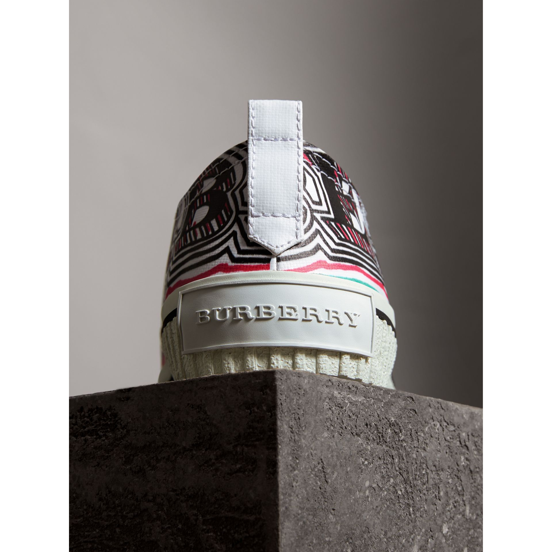 Doodle Print Coated Cotton Trainers in Optic White - Women | Burberry United Kingdom - gallery image 1