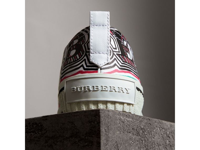 Doodle Print Coated Cotton Trainers in Optic White - Women | Burberry - cell image 1