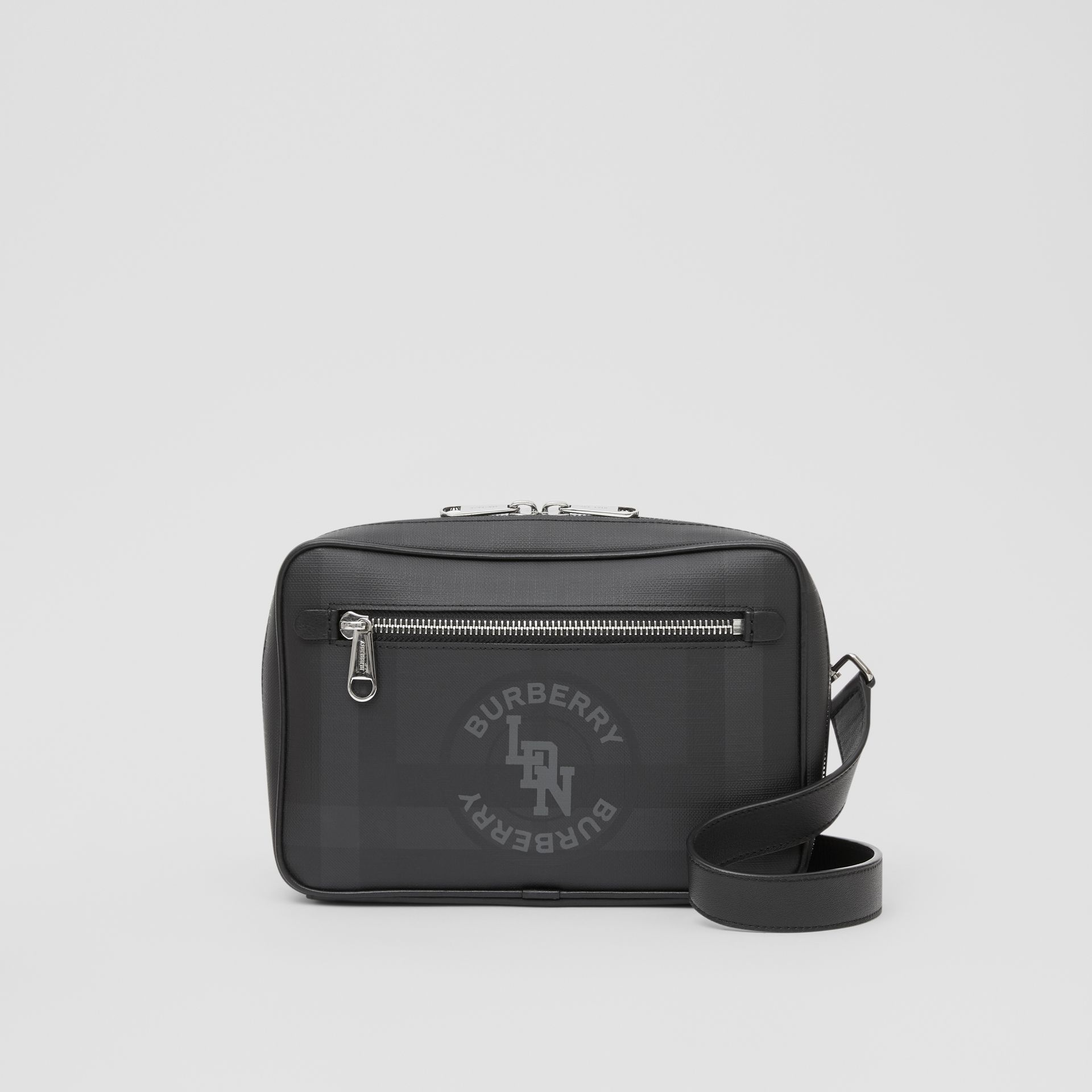 Logo Graphic London Check Crossbody Bag in Dark Charcoal - Men | Burberry United Kingdom - gallery image 0