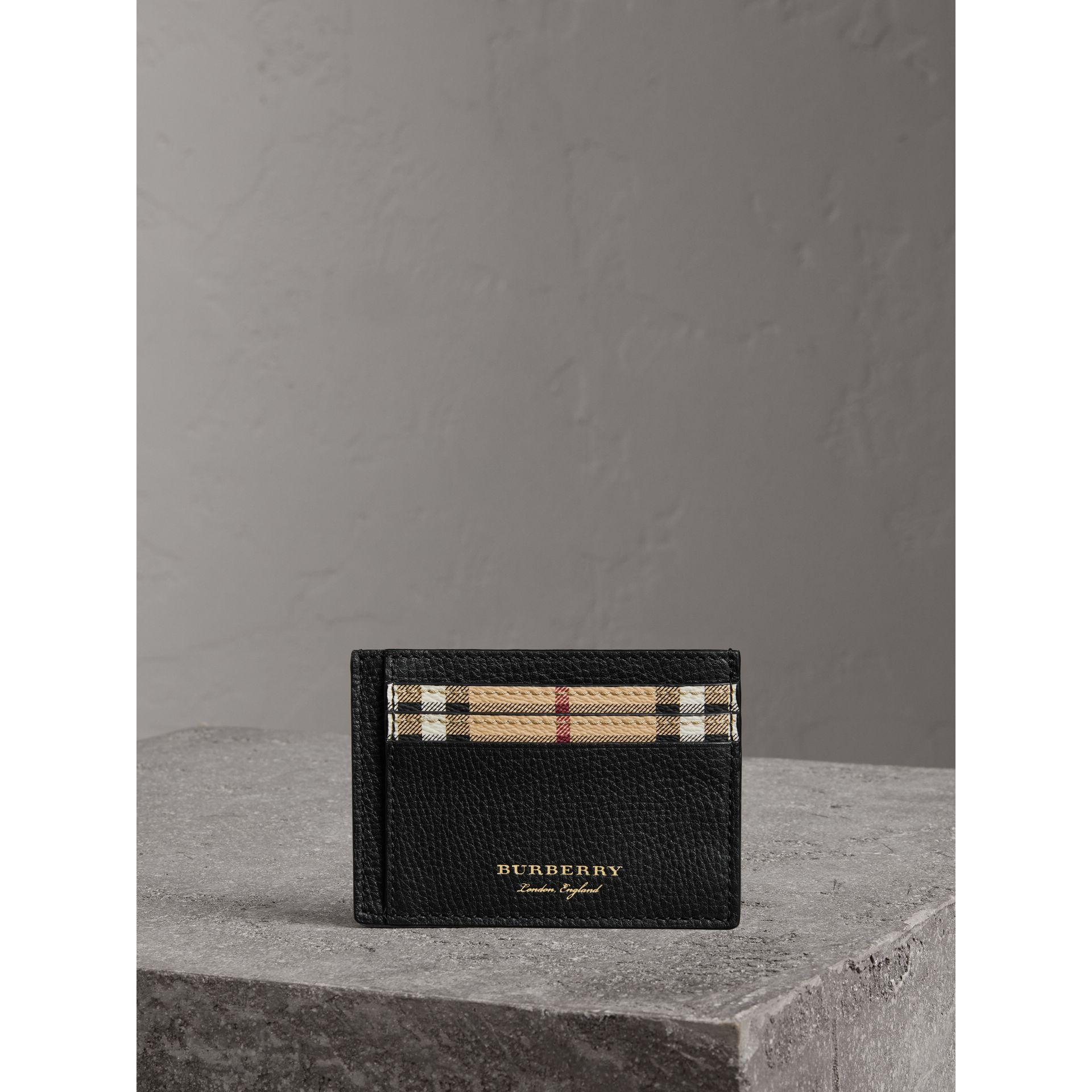 Haymarket Check and Leather Card Case in Black - Men | Burberry - gallery image 4