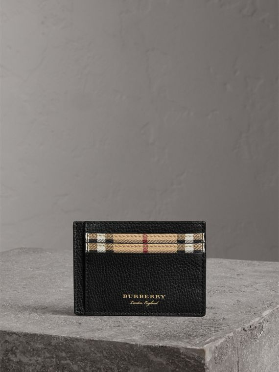 Haymarket Check and Leather Card Case in Black - Men | Burberry Hong Kong - cell image 3
