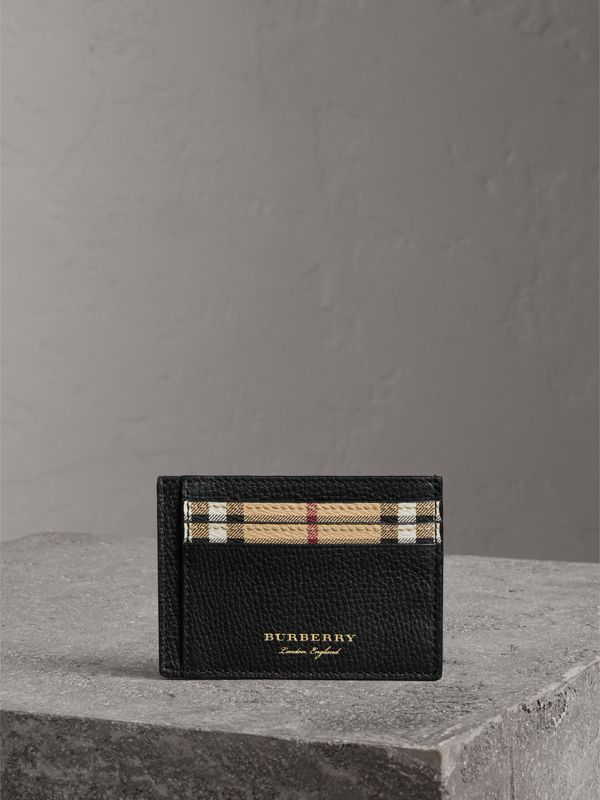 Haymarket Check and Leather Card Case in Black | Burberry Australia - cell image 3