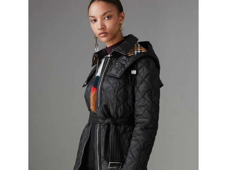 Detachable Hood Lightweight Diamond Quilted Coat in Black - Women | Burberry United States - cell image 4
