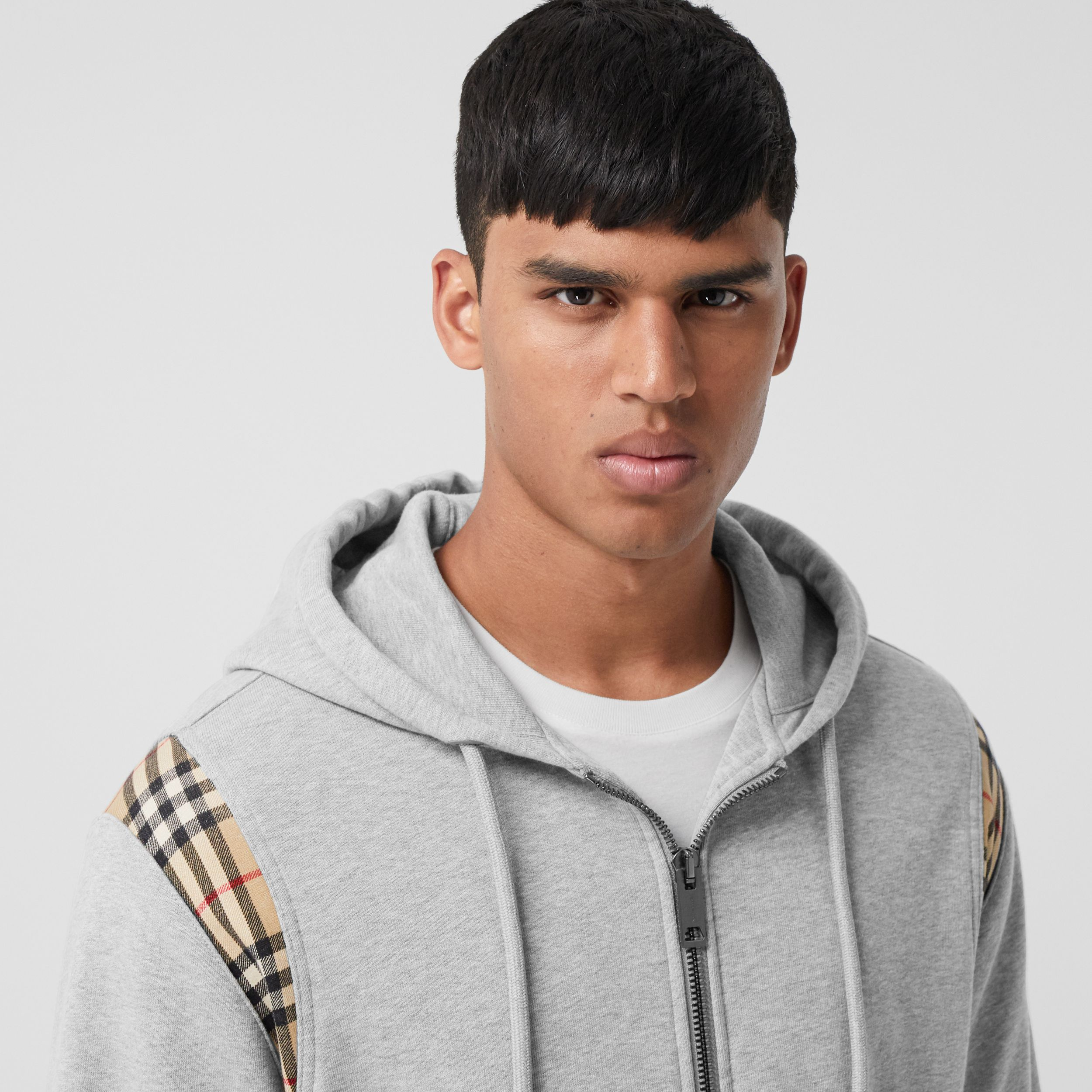 Vintage Check Panel Cotton Hooded Top in Pale Grey Melange - Men | Burberry United Kingdom - 2