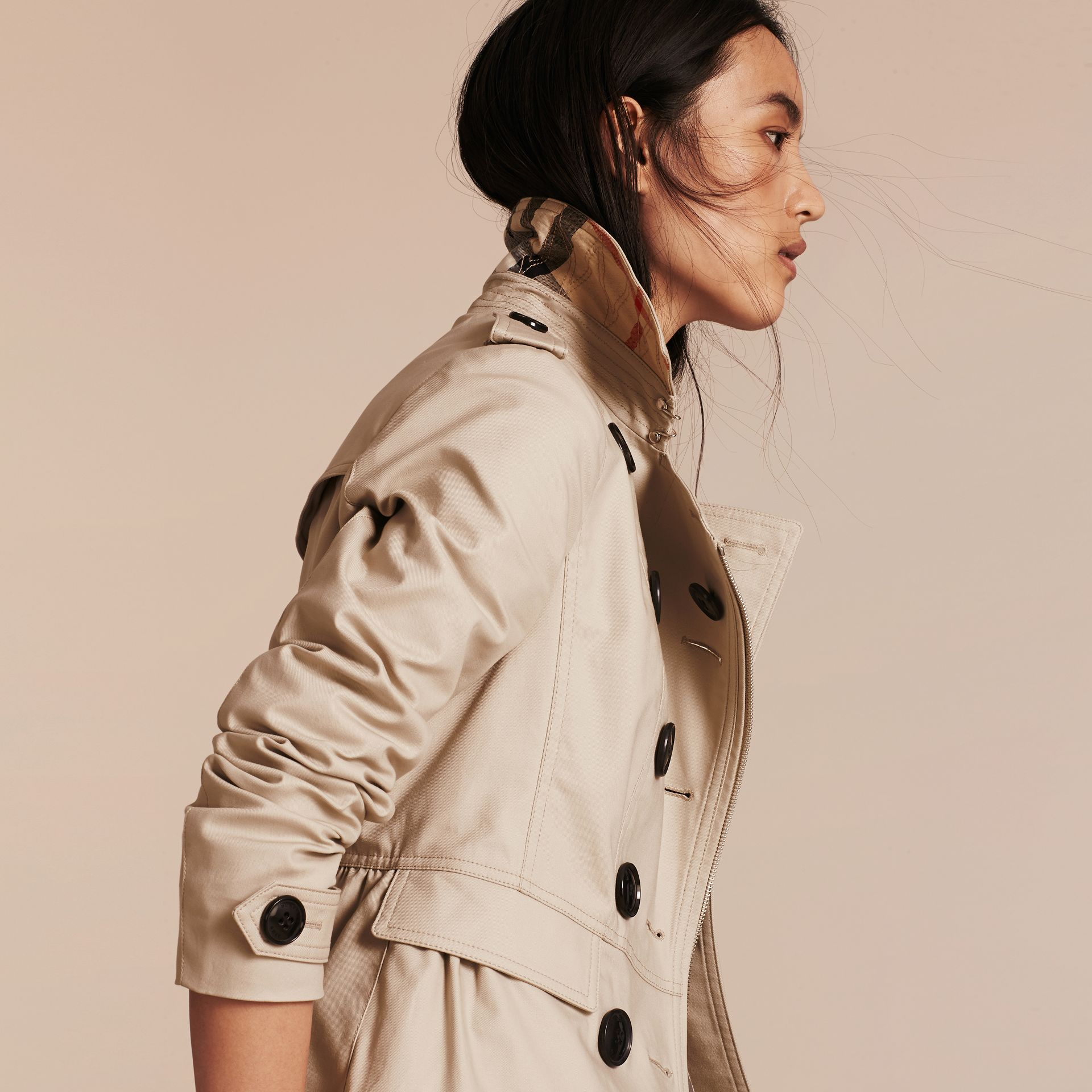 Stone Stretch Cotton Skirted Trench Jacket - gallery image 5